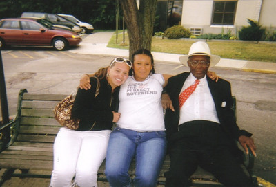 """Sylvester Cooper, right, with two neighbors - Kaye """"Lani"""" and Buffie - at Harr Plaza in the summer of 2008."""