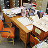 David Chester's desk in the Leominster Historical Commission's office on Monday afternoon. SENTINEL & ENTERPRISE/JOHN LOVE