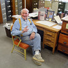 Chairman of the Leominster Historical Commission Donald Piermarini talks about David Chester as he sits at David's desk in their office on Monday afternoon. SENTINEL & ENTERPRISE/JOHN LOVE
