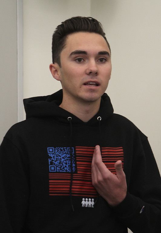 . Parkland shooting survivor David Hogg speaks to a criminal justice class, Interpersonal Communications in Criminal Justice, at Middlesex Community College.  (SUN/Julia Malakie)
