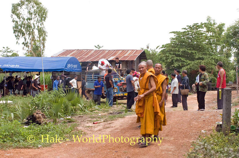 Monks Organizing the Procession From Deceased's Home to the Crematorium at the Local Wat
