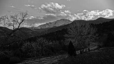 Pick of Litter 2 (B&W) Rendering ~ Garden of the Gods at dusk. On the way out of the park.