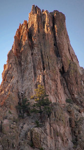 "Garden of the Gods at dusk and the rock formation known as, ""Praying Hands"". Enjoyed seeing the sun-tipped summit of the formation."
