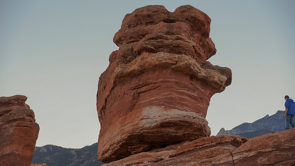 "Garden of the Gods at dusk and the rock formation known as, ""Balanced Rock""."