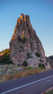 "Garden of the Gods at dusk and the rock formation known as, ""Praying Hands""."