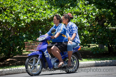 Two Women Riding Motorbike - Rarotonga, Cook Islands, Polynesia, Oceania