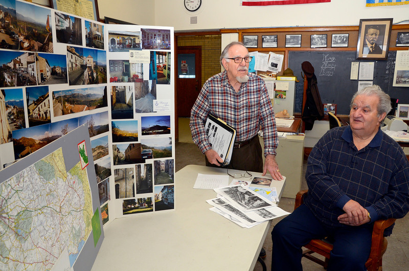 "Leominster Historical Commission members John Proietti (left) and Rocko ""Rocky"" Palmieri (right) talk about an ongoing project to document the history of Italians in Leominster, Friday.<br /> SENTINEL & ENTERPRISE / BRETT CRAWFORD"