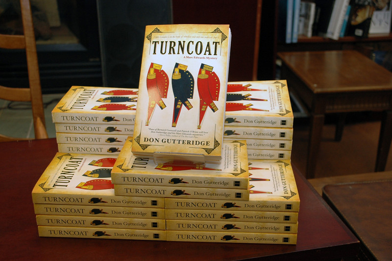 Don Gutteridge' book on display at a book reading following the re-issue of his first mystery, Turncoat, by Simon and Schuster. The reading was at a Chapters store in London, Ontario. on August 24, 2010.