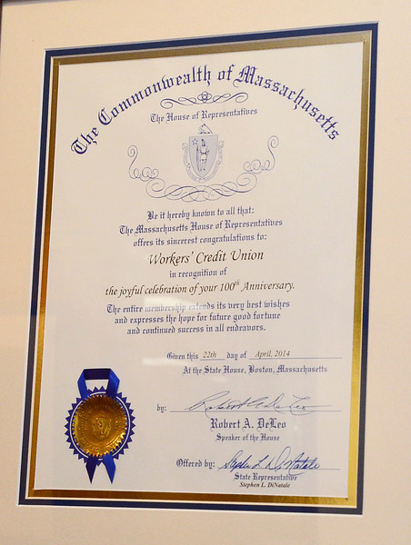 A citation was given to Workers' Credit Union, from the Commonwealth of Massachusetts to celebrate Workers' 100th anniversary this year. SENTINEL & ENTERPRISE / Ashley Green