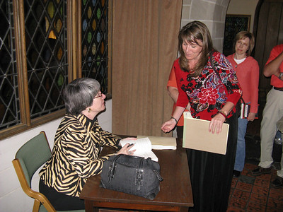 Signing books - Zoe on right.