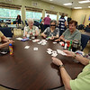 "Lunch, card games and tai chi at the Dracut Council on Aging, which will be preparing seniors for the 2020 U.S. Census. Playing ""5/15"" from left: Peggy Beauregard, Mildred Brown, Jade Choy and Cynthia McMahon, all of Dracut, and Jane Marsh of North Chelmsford. (SUN/Julia Malakie)"