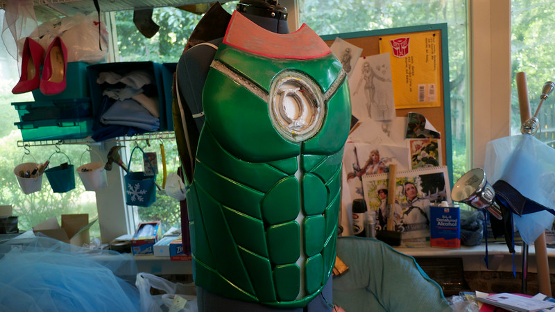 Cliff  Tunnell shows how his Green Lantern costume comes together. Photos taken by Rosemary Jean-Louis