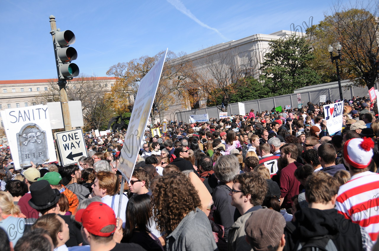 everywhere you turned there were people at the Rally to Restore Sanity and/or Fear