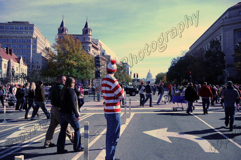 Waldo looks at the Capital in  Washington DC