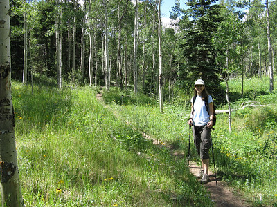 The aspen meadow at the top of the creek (with my niece; July '08), just before the final steep assault.