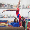Beam routine with coach looking on, Trevino's Gymnastics District Qualifier (Sep. 2013)