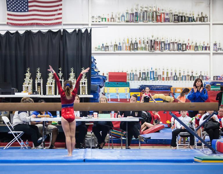 Elizabeth completing her beam routine, Trevino's Gymnastics District Qualifier (Sep. 2013)