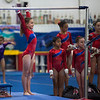 Elizabeth beginning her bar routine, Trevino's Gymnastics District Qualifier (Sep. 2013)