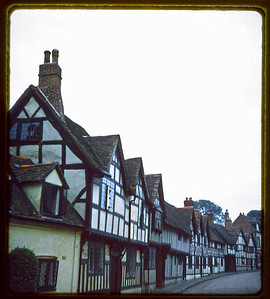 Historic tudor style homes in Warwick England as they looked in July of 1957.