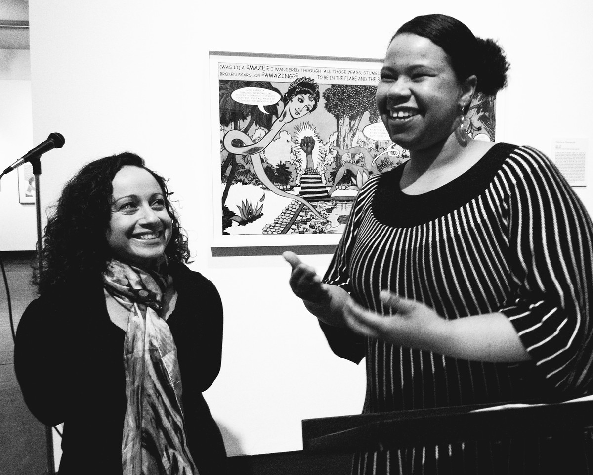Pandora's Box exhibit curator Amanda Cachia and KW|AG Curator of Exhibitions and Collections Crystal Mowry.