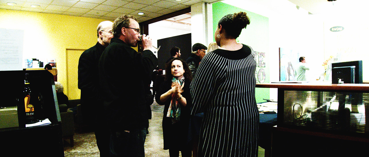 "Conversations during KW|AG's opening reception for ""Pandora's Box"" and ""Ground Level."""
