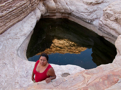 "Tinaja is Spanish for ""jug"".  Ernst Tinaja is a natural water hole found in a small valley on the east side of Big Bend National Park.  You have to drive about 5 miles down a very rocky, rough dirt road to get here."