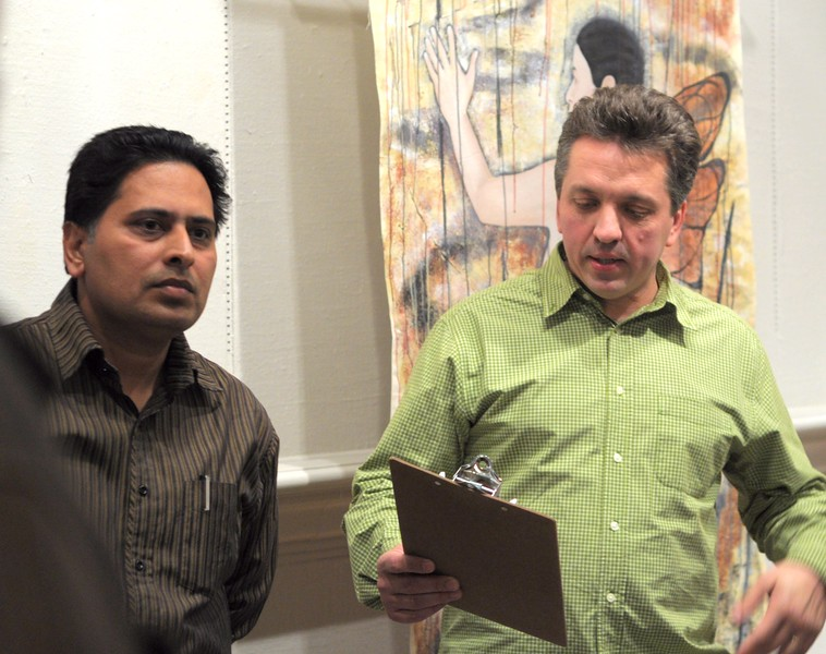 Left, Jeet Aulakh, Artist.  Right, Sandu Sindile, Curator, Homer Watson House and Gallery