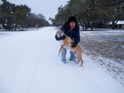 Hank loved the snow and was running all over the place.  I couldn't get him to hold still long enough for a picture.