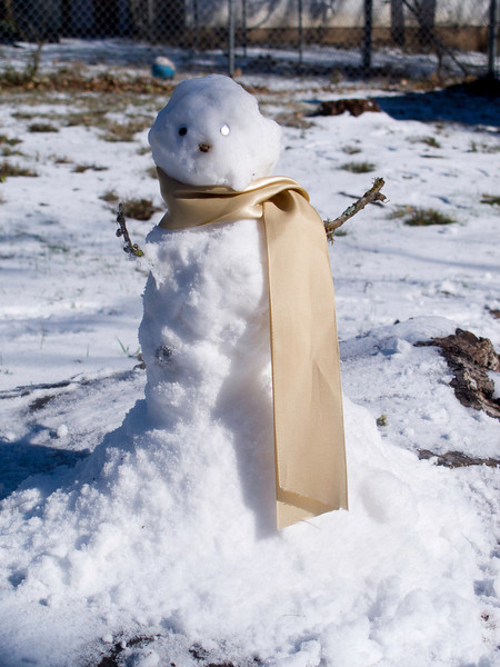 A little snow means a little snowman.  Connie's handiwork.