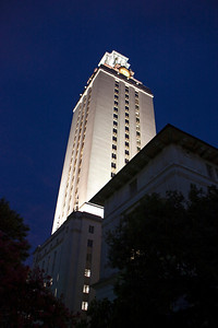 The Tower is lit up at night.  Most times the Tower is lit with white light, but other color schemes are used on special occasions, such as following a significant athletic victory.