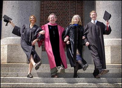 Happy graduates and professors, St. Cloud, Minn. Government Center steps.