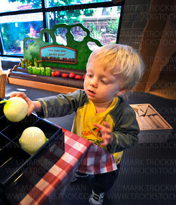 Zvi Uran Markman, 23 months, Hopkins, plays in the Main Street garden where he 'planted' plastic asparagus and picked out onions at the Hennepin County Library in Hopkins Thursday, Aug. 26, 2010.