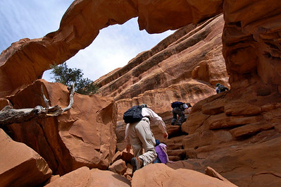 Arches National Park, Utah, scramble.  Lunch tasted better on a massive sandstone fin.