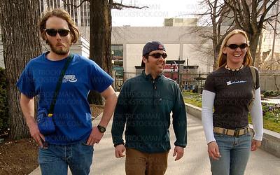 Groover, B-man and Jilly skulk around the Mormon Tabernacle Church in Salt Lake City, Utah.