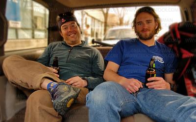 B-man and Groover.  Downtown Salt Lake City, Utah beer break.