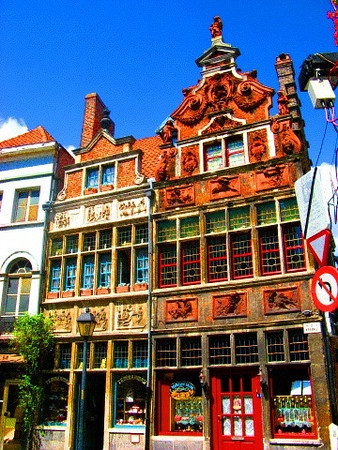 One of the oldest hotels in Gent, Belgium, in its original colors.
