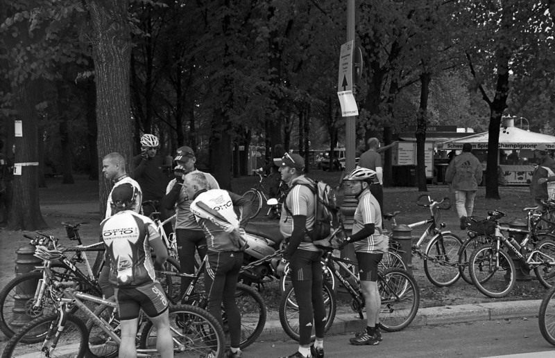 Bicyclists getting ready