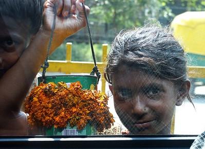 Beggar girl on the street in Delhi