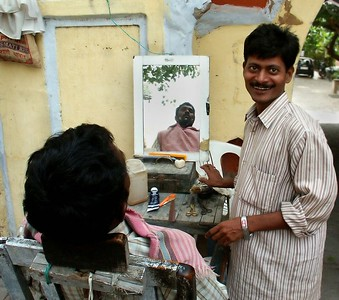 Open Barbor Shop. Ferozpur, Punjab. North India.