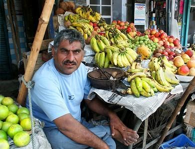 Merchant in the market street. Ferozpur, Punjab. North India.