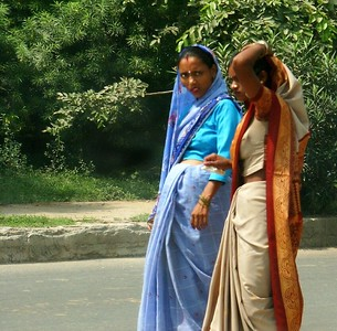 Ladies on a street. Actually, this is in New Delhi before we left for Punjab.