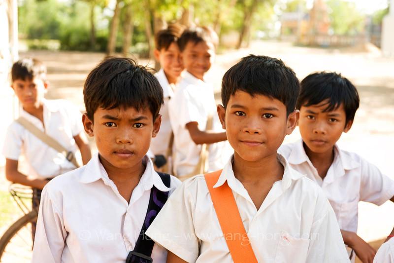 Handsome young school boys, Cambodia, December 2010.