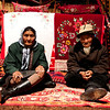 Elderly Tazak couple in yurt in the Heavenly Mountains, Xinjiang, summer 2012.