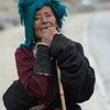 Tibetan woman on her long pilgrimage way to Lhasa