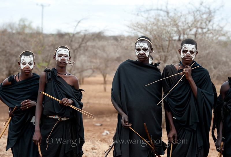 Maasai teenagers after circumcision ceremony in Ngorongoro Conservation Area, North Tanzania,
