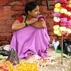 Girl selling flowers in Kathmandu, Nepal