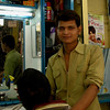 Hair dresser near Victoria Station in Mumbai, India