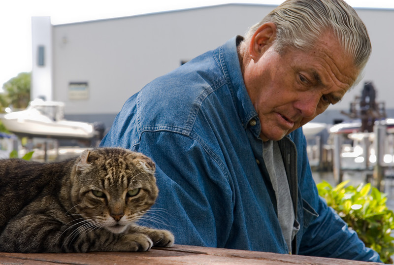 Man with Stray Cat