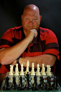 Test Shot of Dr. Bob Carey at the chess board.