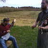 Tim Morton fiddles at the Eldridge farm near Orleans